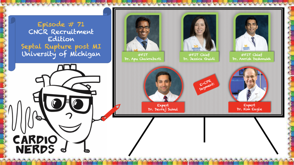 CardioNerds (Amit Goyal & Daniel Ambinder) join University of Michigan cardiology fellows (Apu Chakrabarti, Jessica Guidi, and Amrish Deshmukh) for some craft brews in Ann Arbor! They discuss a challenging case of Ventricular Septal Rupture after acute MI. Dr. Kim Eagle, editor of ACC.org & host of Eagle's Eye View Podcast, and Dr. Devraj Sukul provide the E-CPR and message for applicants. Episode notes were developed by Johns Hopkins internal medicine resident, Eunice Dugan, with mentorship from University of Maryland cardiology fellow Karan Desai.